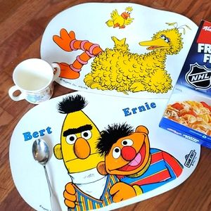 Vintage RARE Sesame Street placemats, set of 2